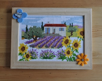 frame 'Lavender field' cross-stitched