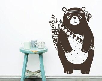 Tribal Bear Wall Decal - Nursery Decal, Vinyl Wall Decal, Woodland Animal Decal, Tribal Nursery Wall Sticker