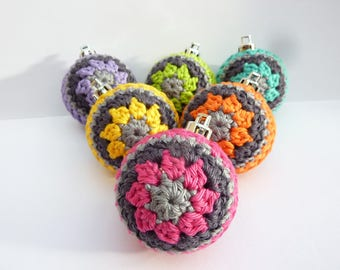 Christmas baubles crocheted - set of 6
