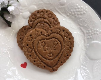 Ginger Heart  Shaped Cookies-Gift boxed for Her -Him- Give your Heart to Someone Special- 1 dozen Gingerbread Hearts