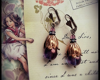 Iridescent Amethyst & Tulip Leaves Teardrop Earrings