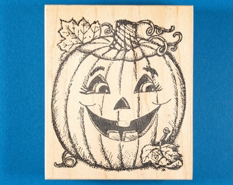 Large Jack-o'-Lantern Rubber Stamp by Northwoods - Halloween Pumpkin with Big Grin