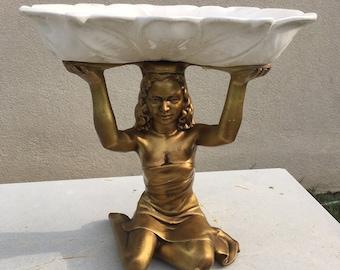 Art Deco Fruit Bowl Lady Statue