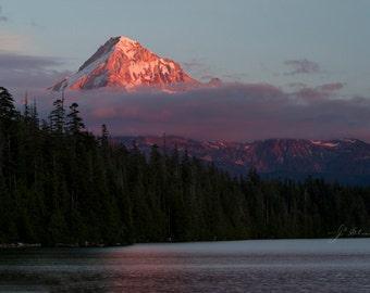 mount hood photograph, oregon photography, fiery mountain peak, lost lake landscape