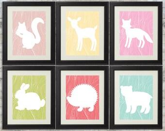 Girls Woodland Nursery Art , Forest Nursery Art, Forest Animals, Little Critters - set of 6 -  8x10 Printables