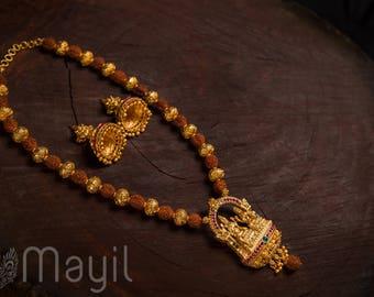 SIVASHANKARI RUDRAKSH |  Indian jewelry | Temple kundan gold kemp South Indian jewellery | Pendant Maala Necklace