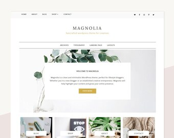 Minimalist WordPress Theme | Genesis Child Theme | Responsive | Magnolia