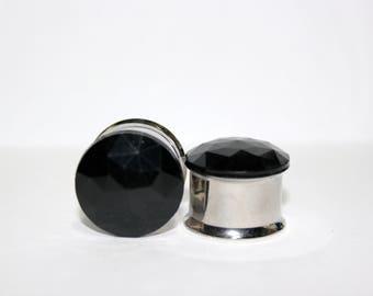 """Black Crystal Plugs 5/8"""" 16mm"""