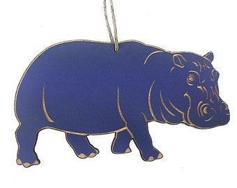 Purple Hippo Christmas Ornament