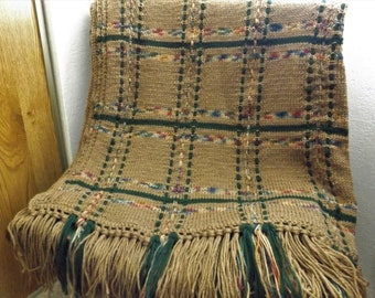 New Handmade knitted plaid   Afghan (throw or blanket)  Beautiful  with lots of fringe   Ready to ship