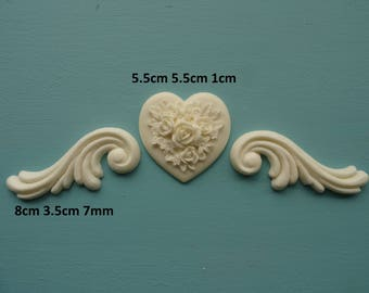 Decorative rose on heart and scrolls x 2 applique furniture moulding RHGS