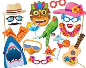 Luau Hawaiian photo booth props, Luau photo booth party props, Hawaiian party decorations, Beach Party photo booth, Printable PDF - 0195B