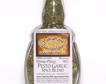 Pesto Garlic Spice Blend Artisan Gourmet Hand-crafted Nut-Free / Cheese-Free - Organic Pasta Sauce Mix - Dip Mix - Organic Food Herb Spice
