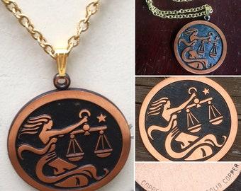Coppercraft Guild solid copper Libra zodiac pendant