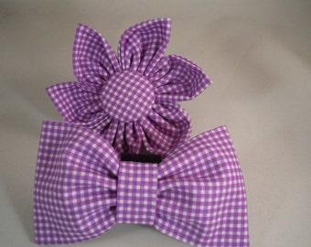 Dog Flower, Dog Bow Tie, Cat Flower, Cat Bow Tie - Gingham - Purple