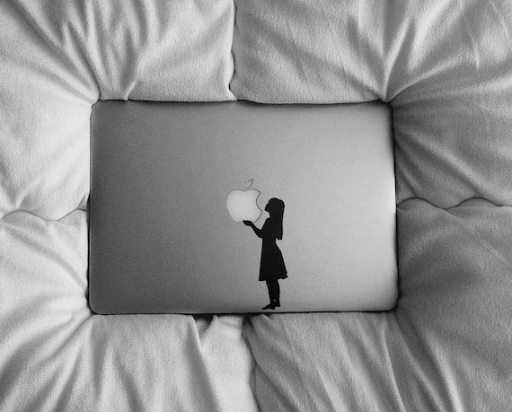 Girl holding an Apple - Sticker for Macbooks and Laptops, mac, macbook sticker, laptop, decals, mac, decal, girl, woman, forbidden fruit air