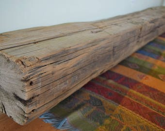 "Reclaimed Hand Hewn Mantel 75"" x 7"" x 6"" Fireplace Mantle Shelf Barn Wood Beam Rustic Distressed Barnwood Antique 1700s 1800s"