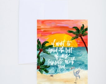 Love Cards - Sunsets - Beach Scene - Painted - Friendship - Greeting Card - A-2 Single Card