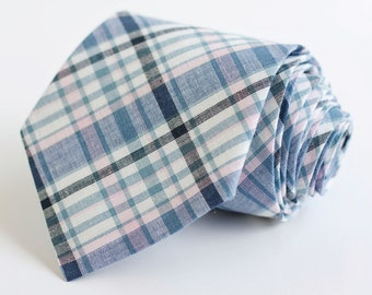Necktie, Mens Necktie, Neck Tie, Groomsmen Necktie, Ties, Tie, Wedding Neckties, Plaid Necktie - Navy And Blush Plaid