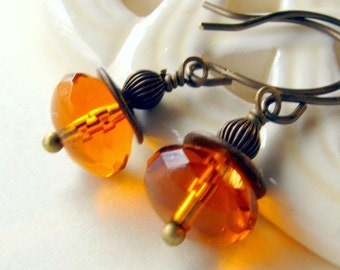 Golden Topaz Brass Earrings,Gift for Her Jewelry, Shabby Chic Cottage Style Mothers Day Outdoor Wedding Garden