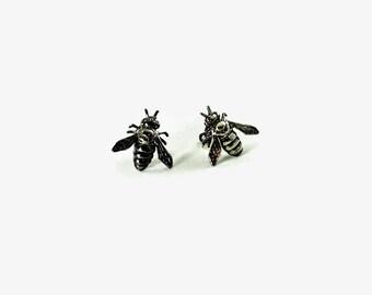 Tiny honey bee stud earrings  - Navy seebee moms earrings