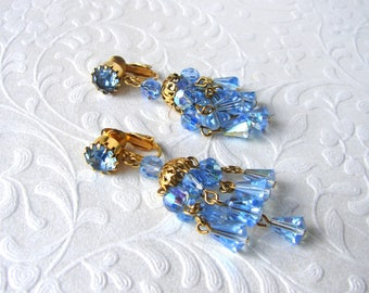 1950s Blue AB Bell Crystal Chandelier Tassel Dangle Earrings Clip Back Gold Wedding Bridal Pageant Ballroom Prom Cocktail New Years MoG MoB