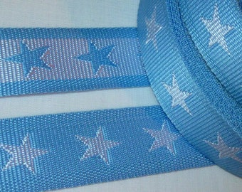 1 m strap, handle bag 45mm light blue with white stars - tied double sided