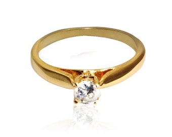 Thin gold ring -gold filled ring gift for women clear quartz ring delicate ring promise ring cheap engagement ring
