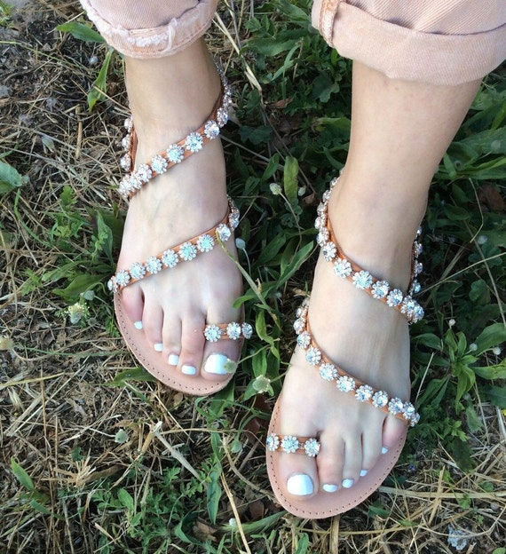 Handmade Barefoot Sandals Leather Sandals Flats Decorated Beach women Greek Sandals Sandals Sandals Wedding Wedding Sandals Crystal xRgw5ntqw