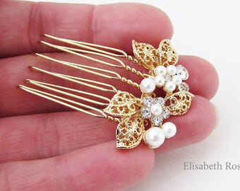 Small Rose Gold and White Pearl Hair Pin Rose Gold Hair Comb