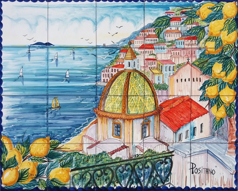 Fliese Wandbild Küste von Positano Italien handgemalte