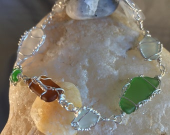 Authentic N.H. Sea Glass handcrafted 8 inch silver filled wire wrapped bracelet.