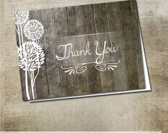 Country Rustic Thank You Card,  Wood Plank and Trees Greeting Card, DIY Printable Thank You Card, Wedding Thank You, DIY Greeting Card