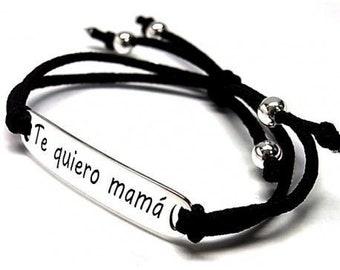 Bracelet Bölbo® I love you Mom bar silver