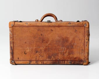 antique brown leather suitcase, 1900s luggage