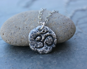 Ancient Om Fragment Necklace - Buddhist fine silver antiqued handmade Aum charm - Zen Meditation - sterling silver chain- free shipping USA