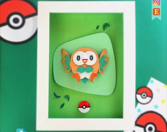 Pokemon Rowlet · Original Paper Cut Illustration
