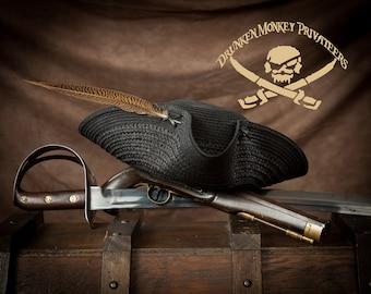 Black Pirate Tricorn Hat, Straw Hat, Pirate Tricorn, Pirate Hat