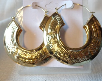 BOHEMIAN HOOP EARRINGS Gold Tone 2.25 inch Lightweight Boho Hoops