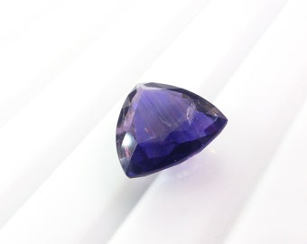 Natural Iolite Trillion Gemstone. Dichroic Stone. Native Cut. Set Table Down For Rose Cut Effect. 1 pc. 4.0 ct. 11.5x11.5x6 mm (IO360)
