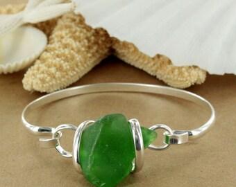 Bottle Green Sea Glass Bracelet