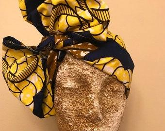 Yellow and Deep Blue Kuchena Half Head Wrap