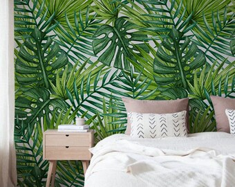 Tropical Palms and Monstera - Adhesive Wallpaper - Removable Wallpaper - Wall Sticker - Wall Mural - Customizable Wallpaper