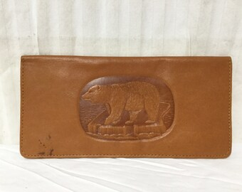 Tooled Leather wallet, Alaska, USA, Brown Bear, wallet,soft leather