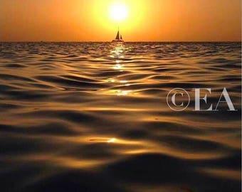 Aruba Sunset with Sailboat