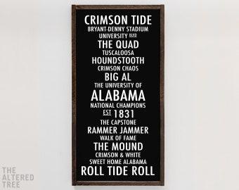 University Of Alabama Sign | Roll Tide Crimson Tide Tuscaloosa AL Go Bama  Big Al Sweet