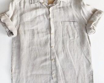 Textured Oatmeal Linen Button Up Top