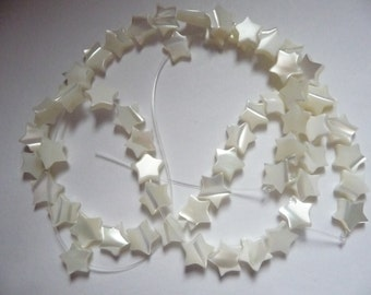 Bead, Mother-of-Pearl Shell (Bleached), White, 7x7mm star, Mohs hardness 3-1/2, Pack Of 10 beads.
