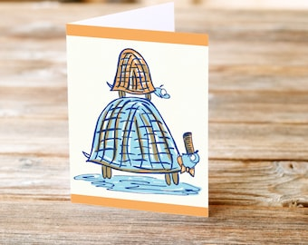 Father's Day card turtle dad's day kid son and dad father's day card hero dad