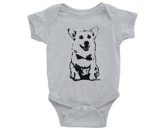 Corgi Baby One Piece, Welsh Corgi Gifts, Personalized Baby Clothes, New Mom Gift, New Dad Gift, Dog Baby Clothes, Dog Baby Announcement